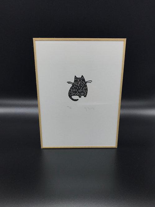 Sandrine Péron - Gravure (grande) Petit chat noir