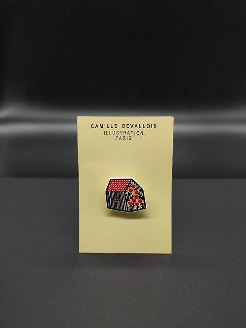 Camille Devallois - Broche Maison et fleurs