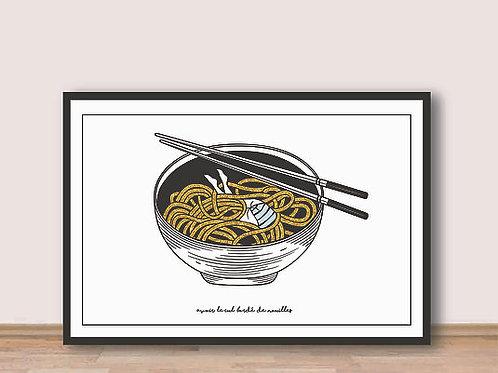 """Palm Illustrations - """"Le Cul bordé de nouilles"""" Affiche A4"""