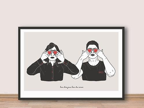 """Palm Illustrations - """"Loin des yeux loin du coeur"""" Affiche A4"""