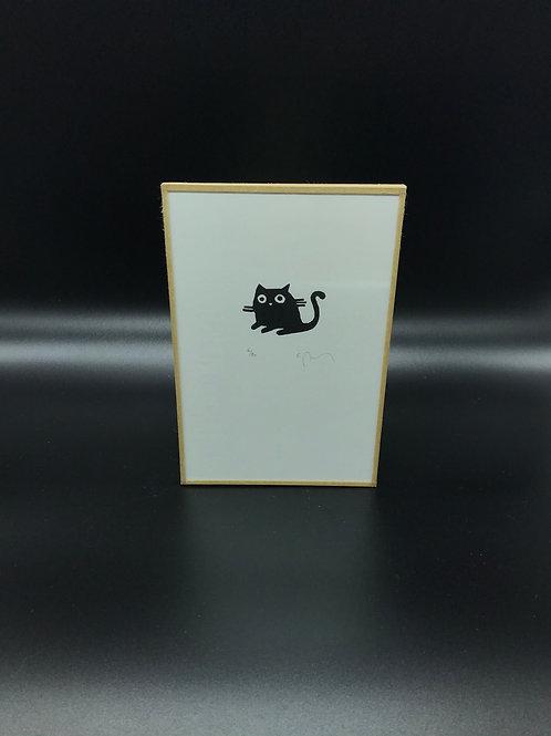 Sandrine Péron - Gravure (petite) Petit chat noir 2