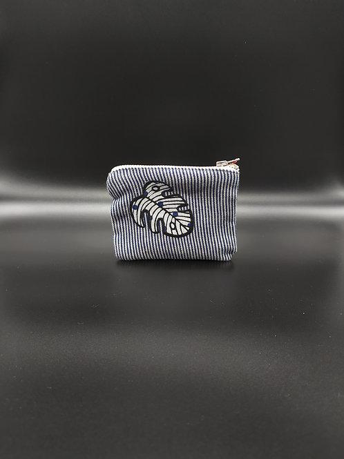 Lucette Graphitextilerie - Petite pochette rectangulaire feuille blanche