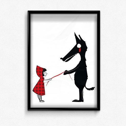 Pierrette en papier - Affiche Chaperon rouge et le loup