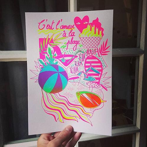 """Jo dessine un peu - Sérigraphie """"l'amour à la plage"""""""