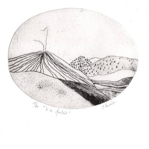 """Cathie Pavoine - Gravure """"Montagne noire"""""""