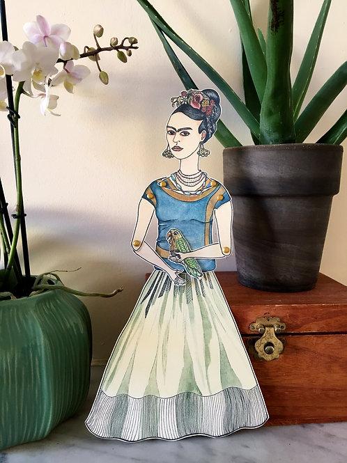 Espace Fragile - Marionnette M  «Frida et son perroquet»