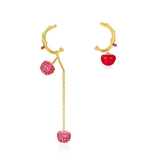 Red Cherry Asymmetry Earrings Cold Enamel and Natural Red Corundum