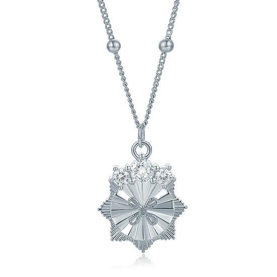 Self Badge Series Crystal True Love knot necklace Silver
