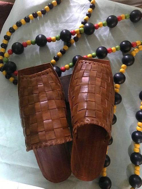 Unisex Woven Handmade Leather Slip Ons