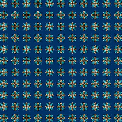 estampa mandala azul