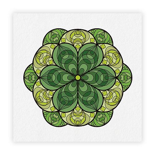 mandala fiori verde