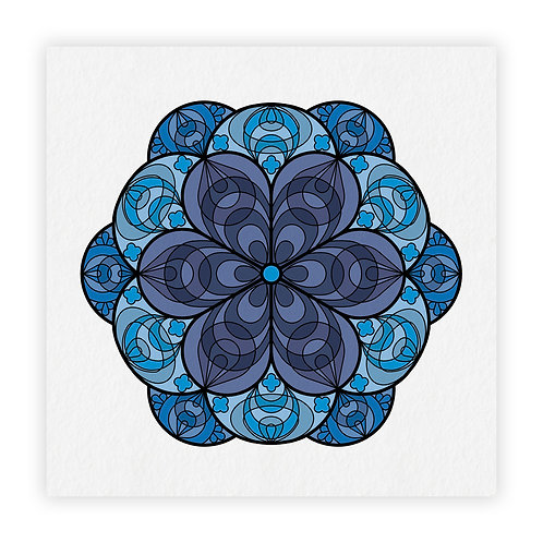 mandala fiori azul