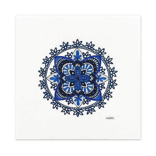 mandala bordado azul