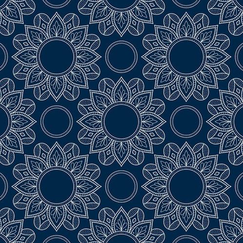 estampa crochê azul
