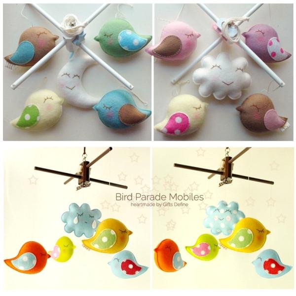 Bird Parade Mobiles (in 3 color set choices)