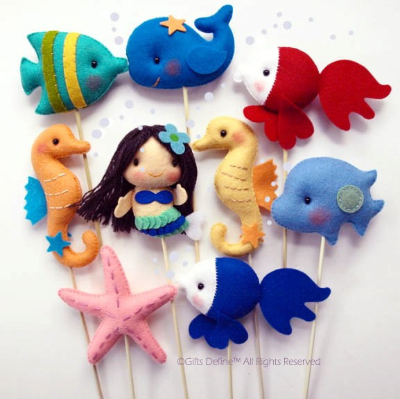 Mermaid and Under The Sea Fish Party Favors Cake Topper
