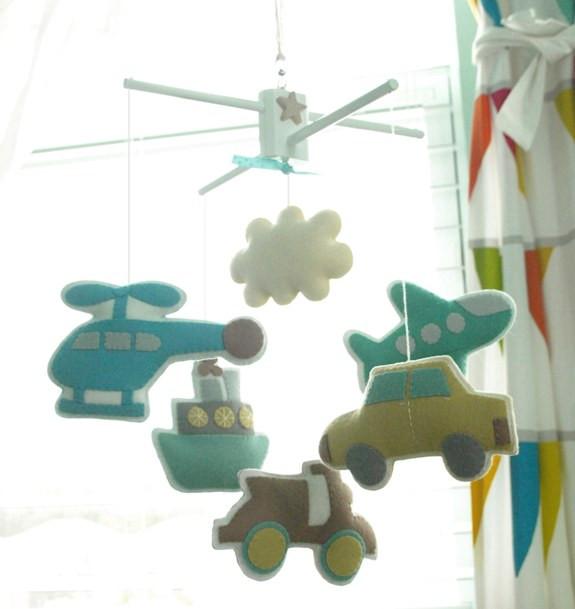 Bon Voyage transportation theme baby mobile