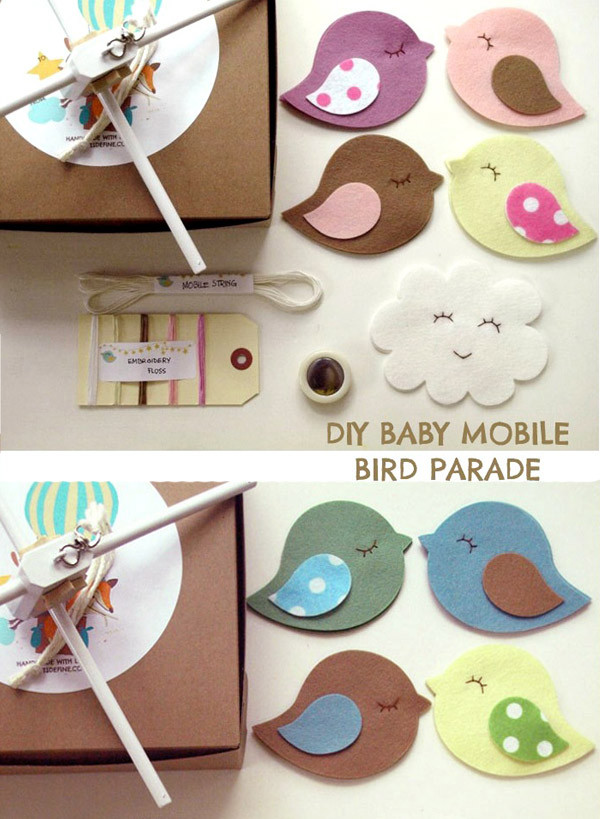 DIY Sewing Kit Baby Mobile Bird Parade