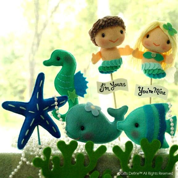 Love Mermaids, Cake Topper, Beach Wedding