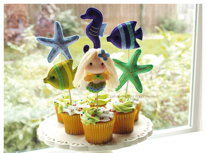 Mermaid and Sea Fish Friends Cupcake Topper