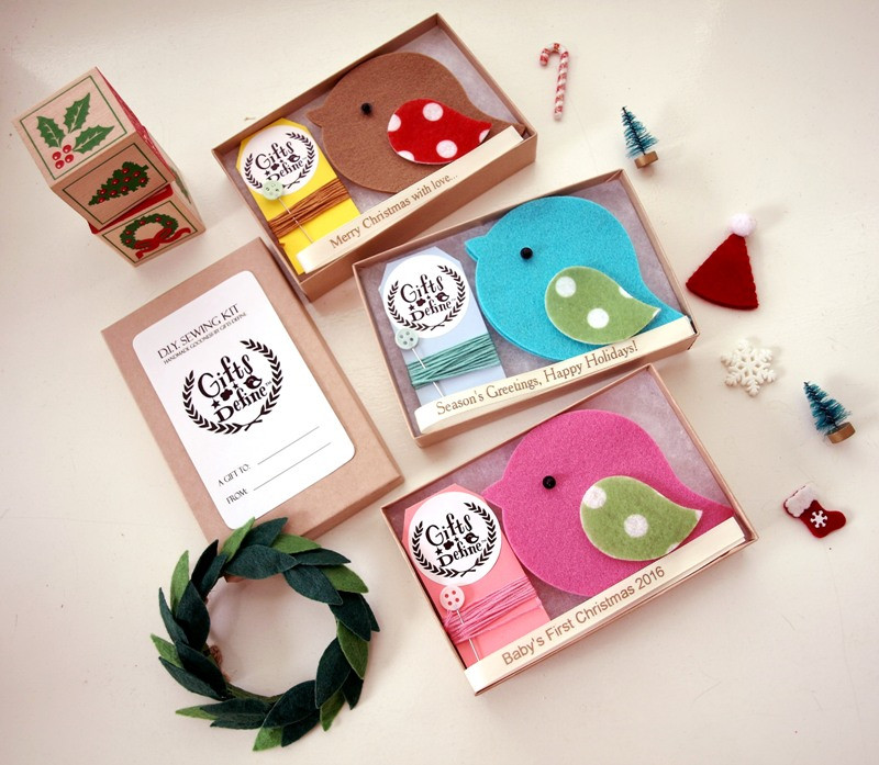 DIY Sewing Kit, Create Your Own Holiday Greeting Birds