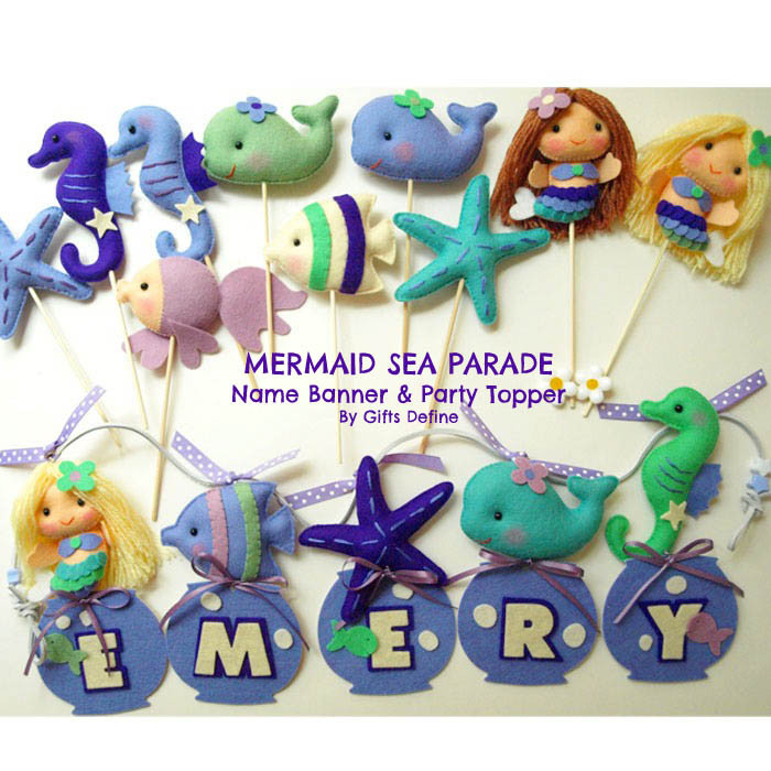 Mermaid and Sea Fish Party Favors and Custom Name Banner