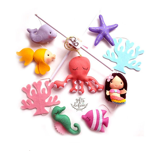 Mermaid with Octopus and Sea Friends | Baby Mobile