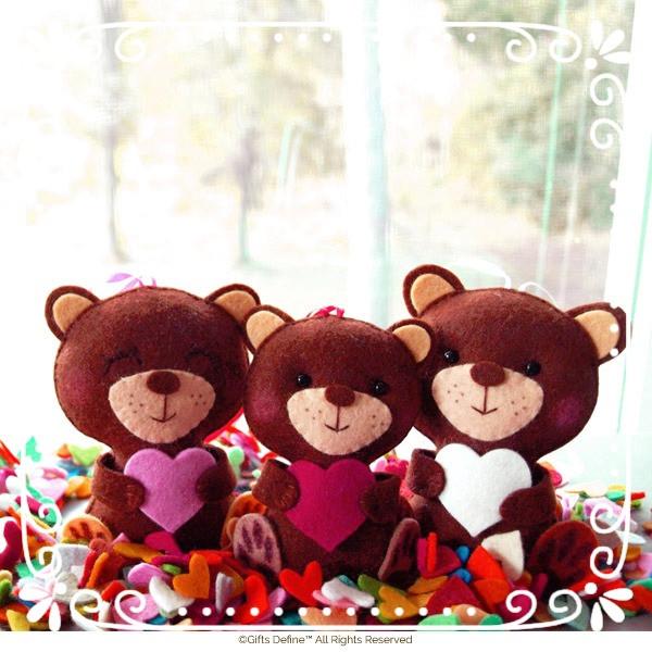 Valentine's Bear Family Keepsake for Mom, Baby, Dad