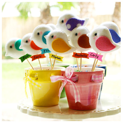 Bird Parade | Set of 5 Party Favors or Topper