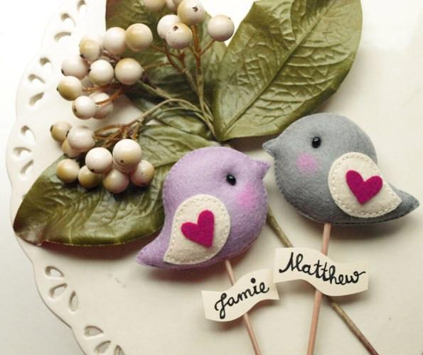 Personalized Wedding Cake Love Birds