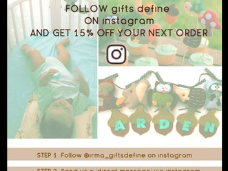 15% off for following Gifts Define on Instagram