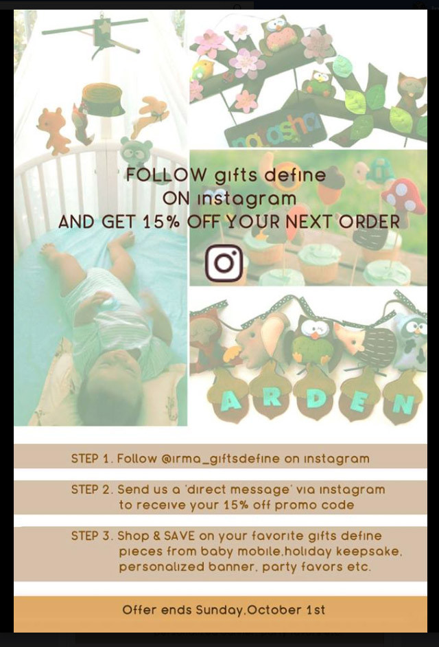 Follow Gifts Define on instagram and get 15% off your next order!