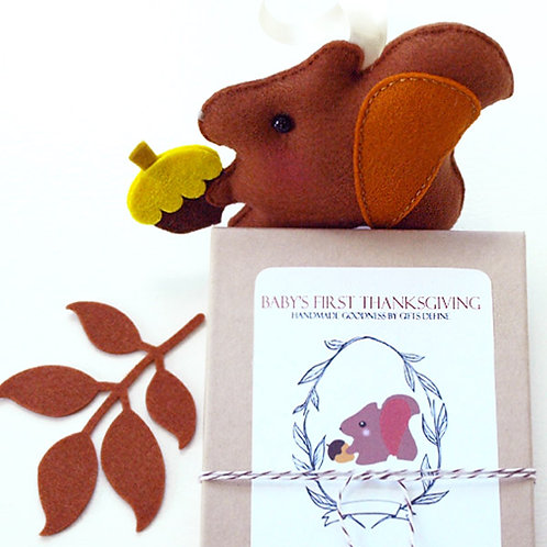 Baby's First Thanksgiving Squirrel | Newborn Keepsake