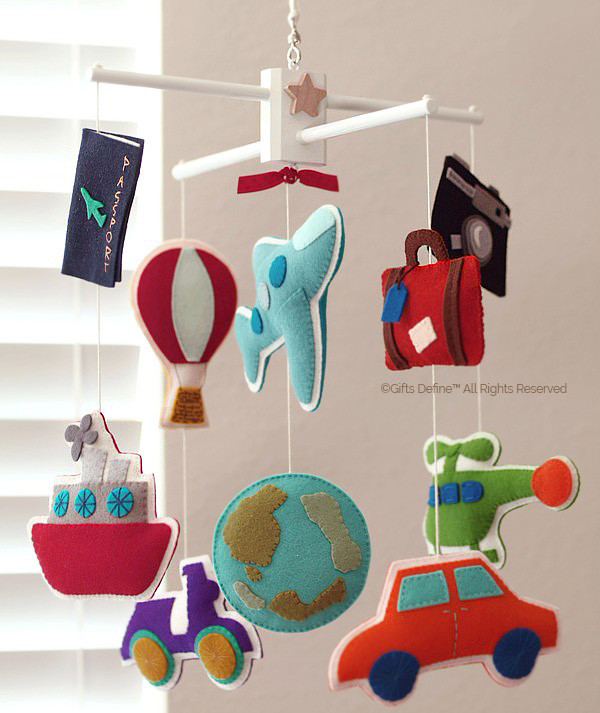 Custom Bon Voyage, transportation and travel inspired baby mobile decor