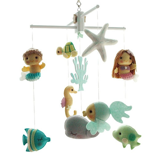 Two Mermaids with Sea Friends | Baby Mobile