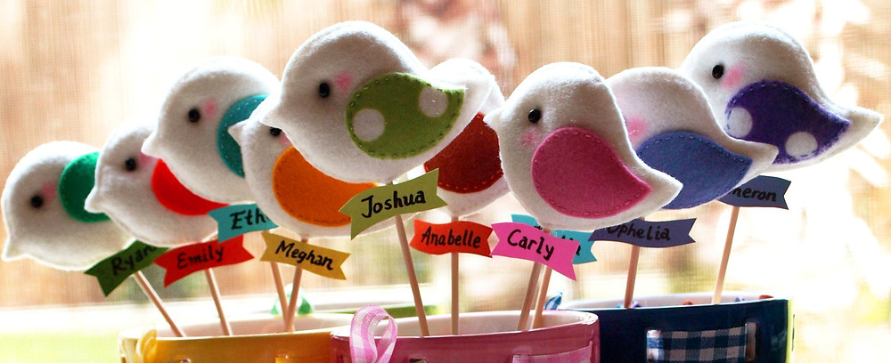 Personalized Bird Parade Party Favors and cake Topper