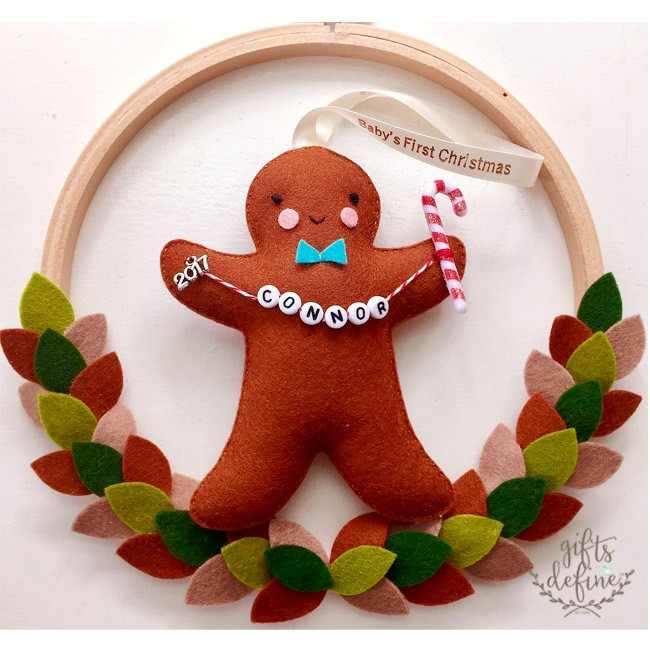 Gingerbread Friend Baby's First Christmas 2017 Holiday Keepsake