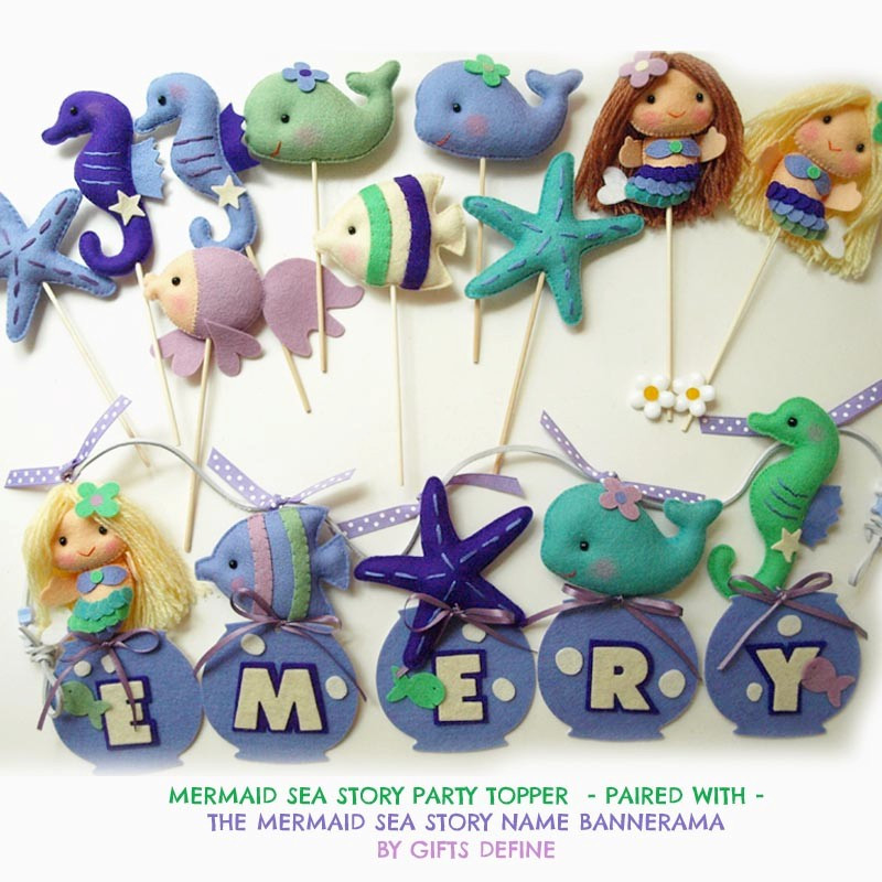 Matching Mermaid and Sea Friends Party cake topper and name banner