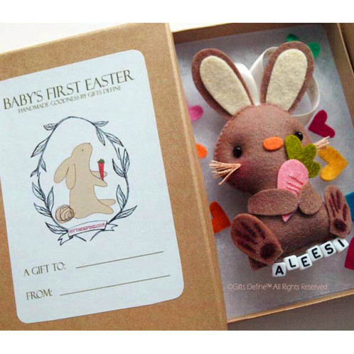 Babys first easter bunny newborn keepsake giftsdefine handmade in our easter workshop from soft wool felt make these happy bunnies as collectible keepsake ornaments delightful party favors a whimsical gift negle Image collections