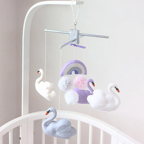 Sweet Swans   Baby Mobile
