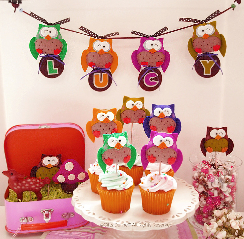 Woodland, Owls and Birds Party Favors Cake Topper