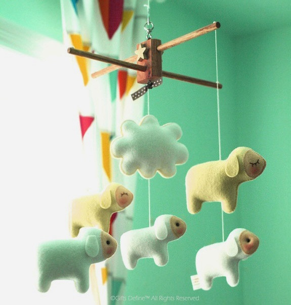 Counting Sheep luxe baby mobile, farm country and spring inspired nursery decor