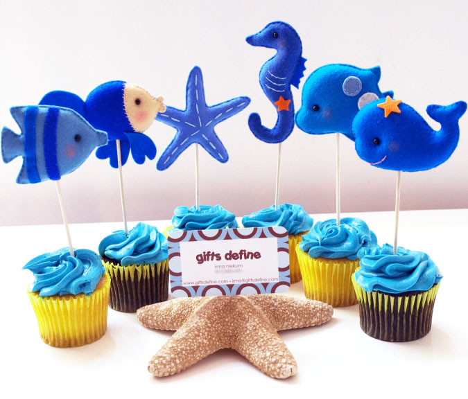 Under the Sea Fish cupcake party toppers