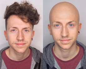 Bald cap before and after