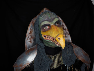Skeksis inspired makeup; Fabricated armour and mask