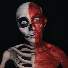 Skeleton and muscle body paint