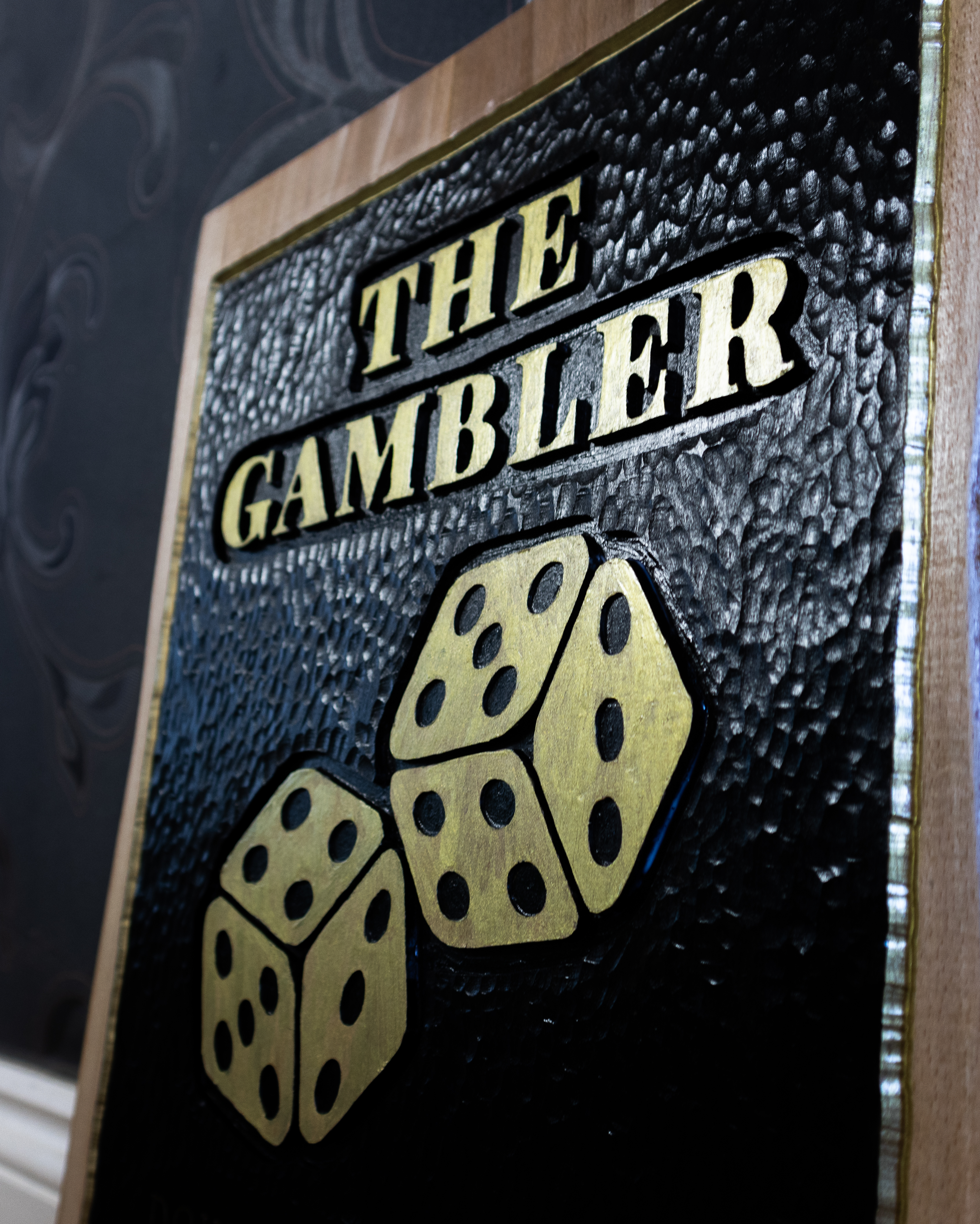Live Edge Wooden Gambler Sign
