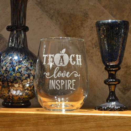 Teacher Appreciation Wine Glass | Custom Etched Wine Glass | Personalized Wine G