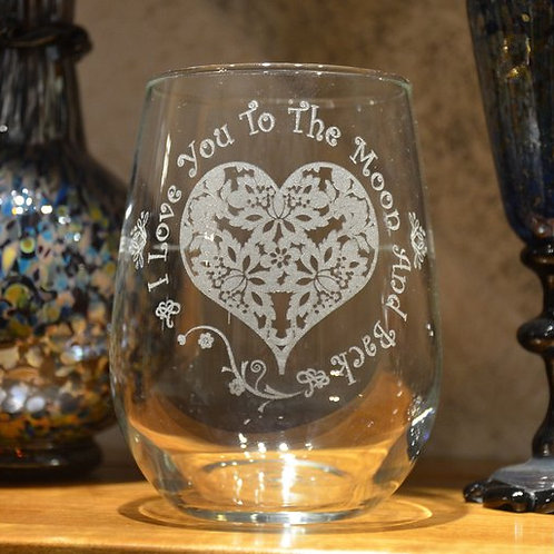 Love You to the Moon and Back Wine Glass | Custom Etched Wine Glass | Personaliz