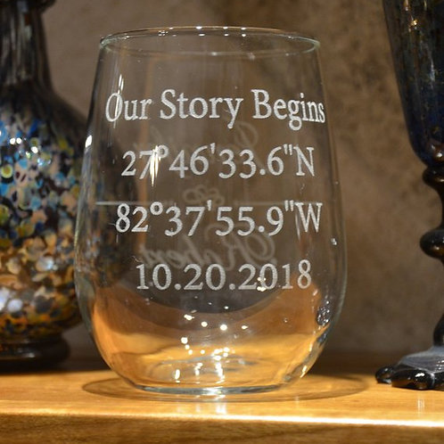 Personalized Coordinates Etched Wine Glass | Longitude Latitude Wine Glass | GPS